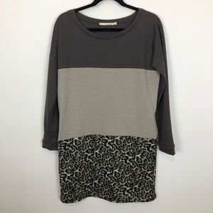 Ellison tunic top rugby stripe leopard print small